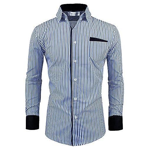 Tom\u0027s Ware Mens Classic Slim Fit Vertical Striped Longsleeve Dress Shirt  TWCS16-NAVY-US L