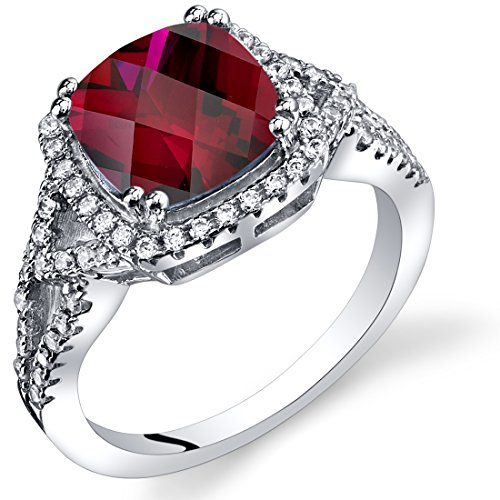 Created Ruby Cushion Cut Checkerboard Ring Sterling Silver 3.00 Carats Size 9