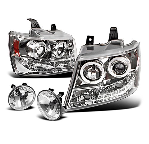 2007-2012 Chevy Avalanche / Suburban / Tahoe DRL LED Halo Projector Headlights with Fog Lights - Chrome