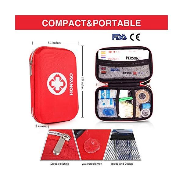 HONYAO Botiquín de Primeros Auxilios, Mini Kit de Supervivencia - Bolsa Médico de Emergencia Completo para Coche Barco… 4