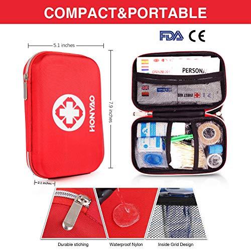 HONYAO Botiquín de Primeros Auxilios, Mini Kit de Supervivencia - Bolsa Médico de Emergencia Completo para Coche Barco Motocicleta El Hogar Lugar de Trabajo Mochila y Acampar Senderismo Viaje 3