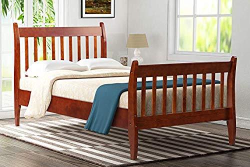 Merax with Slat Support, Twin (Walnut.) Wood Platform Bed Frame Mattress Foundation