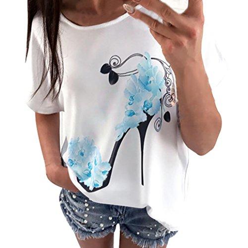 (MENOW Women Short Sleeve High Heels Printed Tops Casual Loose Blouse T-Shirt (M, Blue))