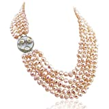 16-22 inch-7-8mm, 5 Row Baroque Freshwater Cultured Pearl Necklace Mother of Pearl metal clasp (Pink)