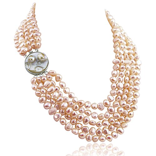 16-22 inch-7-8mm, 5 Row Baroque Freshwater Cultured Pearl Necklace Mother of Pearl metal clasp (Pink) (Necklace Pearl Pink Strand Freshwater)