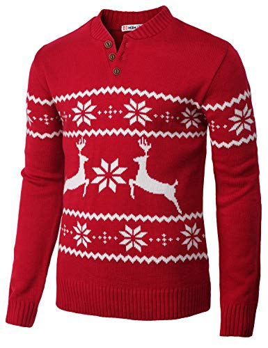 H2H Mens Casual Snowflake Patterned Knitted Long Sleeve Pullover Sweater RED US L/Asia XL ()