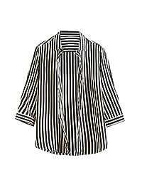 Naladoo Men's Fashion Stripe Button Down Shirt Long Sleeve Casual Loose Tops