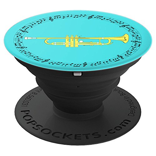 Trumpet Player Gift - Music Notes in Circle - Aqua - PopSockets Grip and Stand for Phones and Tablets