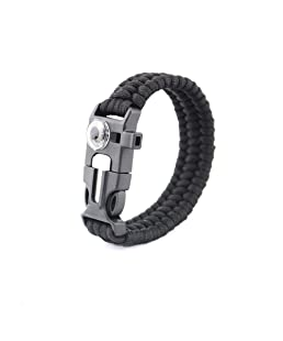 Brave Tour Outdoor Survival Gear Escape Paracord Bracelet Flint/Scraper/Whistle/Compass(Black)