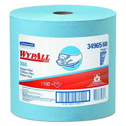 WypAll 34965 X60 Wipers, Jumbo Roll, 12 1/2 x 13 2/5, Blue, 1100 Sheets Per Roll, 1 Roll