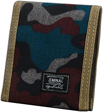 JEMINAL New Mens and Boys Camo Canvas Wallets Purse with Zipper Coin Pocket
