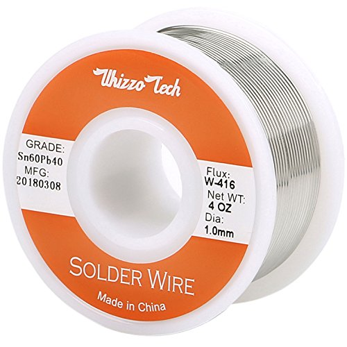 Whizzotech Solder Wire 60/40 Tin/Lead Sn60Pb40 with Flux Rosin Core for Electrical Soldering 4oz/100g Diameter 0.039 Inch/1mm (4oz-1mm)]()