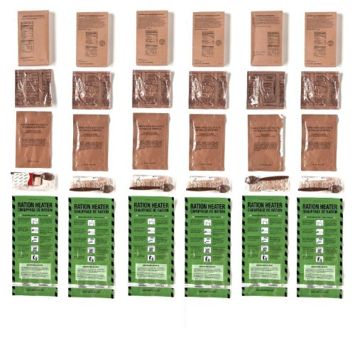 MRE (Meals, Ready to Eat) - Two Course Fresh MREs with Heaters - 5 Year Shelf Life (Pack of 6)