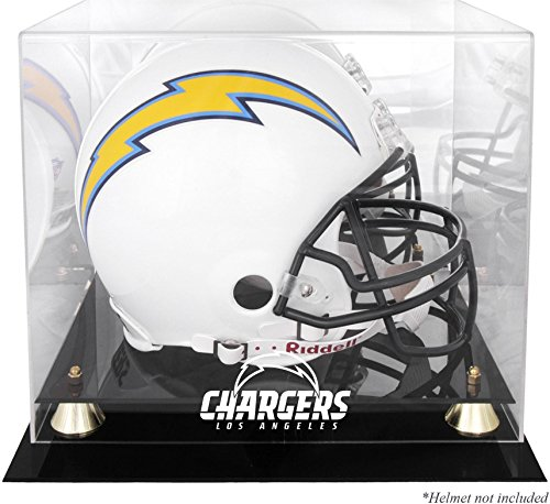 Sports Memorabilia Los Angeles Chargers Golden Classic Helmet Display Case - Football Helmet Logo Display Cases