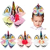 Girls Sequin Unicorn Cheer Bows-HLIN Large Hair Bows with Ponytail Holder Alligator Clips for Cheerleader Girls