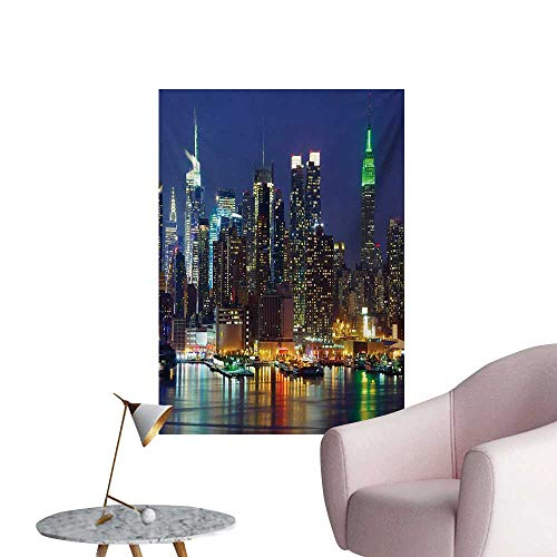 (ParadiseDecor New York Painting Post NYC Midtown Skyline in Evening Skyscrapers Amazing Metropolis City States PhotoRoyal Blue W32 xL36 The Office)