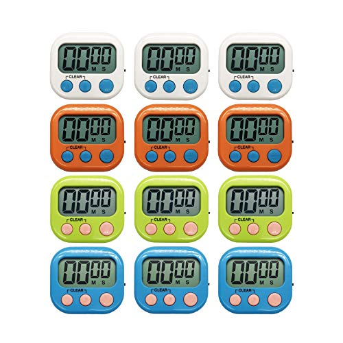 60 Sec Mask - Xpeciall Digital Kitchen Timer Cooking Timers Clock with Big Digits Loud Alarm Magnetic Backing and Stand with Large LCD Display for Cooking Baking (12 Pack, 4 Color)