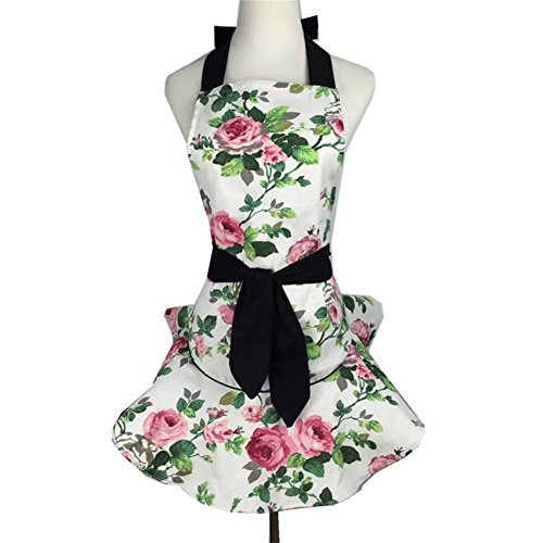 QEES Women's Apron Roses Skull Skirt Apron Retro Vintage Fashion Lovely Floral Garden Apron Adjustable Waistband Tie (WQ20) (White) ()