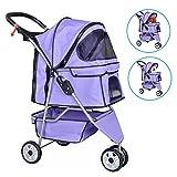 Dkeli Pet Stroller Cat Dog Cage 3 Wheels Stroller Travel Folding Carrier Strolling Cart Purple Review