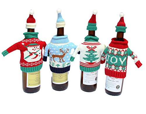 Fashionclubs Christmas Wine Bottle Knitted Ugly Sweater Covers Set,Set of 4 Christmas Ugly Sweaters