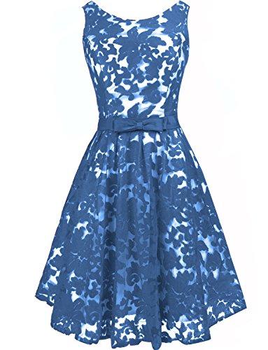 Levory J Women's Vintage Floral Lace Contrast Bow Cocktail Evening Dress(6, Navy Blue)
