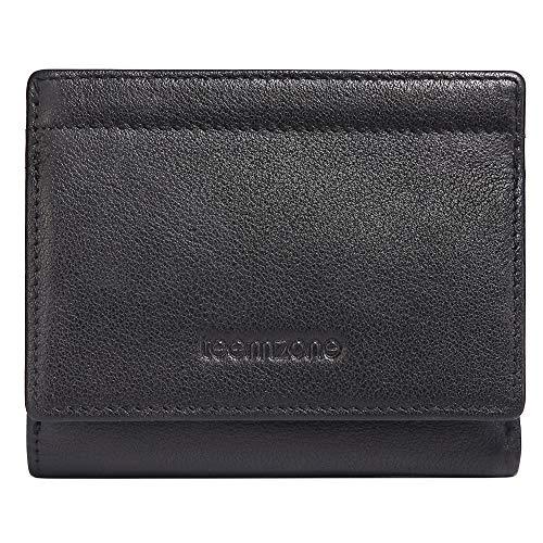 TEEMZONE Geldbörse Herren RFID Schutz aus echtem Nappa Leder 15 Kartenfächer Kleingeldfach ID Fenster Damen Geldbeutel Männer schwarz Portemonnaie Klein