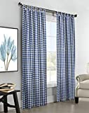 95″L x 80″W Thermalogic Check Tab-Top Curtain Pair, in Blue Check For Sale