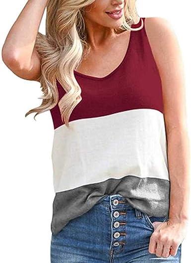 Vectry Para Mujer Sin Mangas Cuello Redondo Camisas Color Patchwork Side Slit Casual Tank Tops Camisa Sexy Casual Chaleco 2019 Verano De Camiseta: Amazon.es: Ropa y accesorios