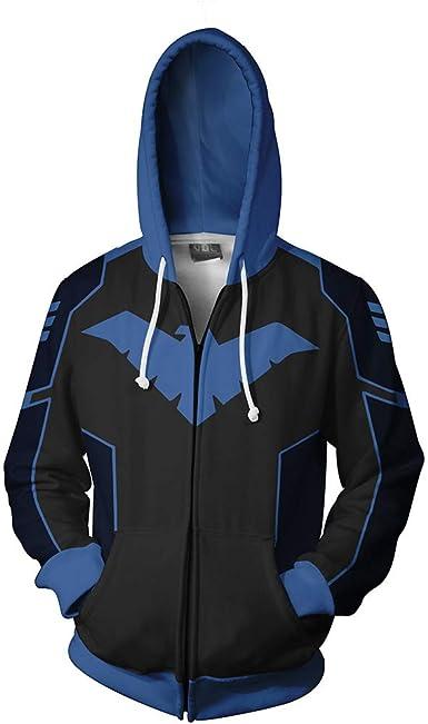Batman Nightwing Robin Cosplay Hoodie Sweatshirt Costume Zip Up Coat  Xmas