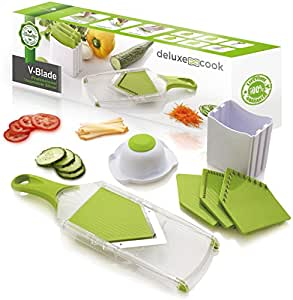 Deluxe Cook V-Blade Mandoline Slicer - Light, Compact, Easy to Use & Clean - Vegetable Slicer - French Fry Cutter - Potato Chip Slicer - Julienne Tool - Plus FREE Recipe eBook