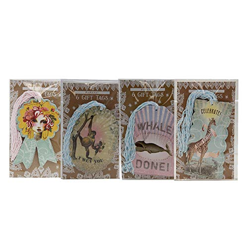Papaya Art Glitter Gift Tag Set: Girl, Monkey, Whale, Giraffe (24 Count) by Papaya