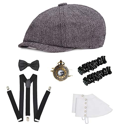 ICEVOG Mens 1920s Accessories Set Gatsby Gangster Costume Panama Manhattan Fedora Newsboy Cap Hat Suspenders Garters Spats, Style D-Light Gray from ICEVOG