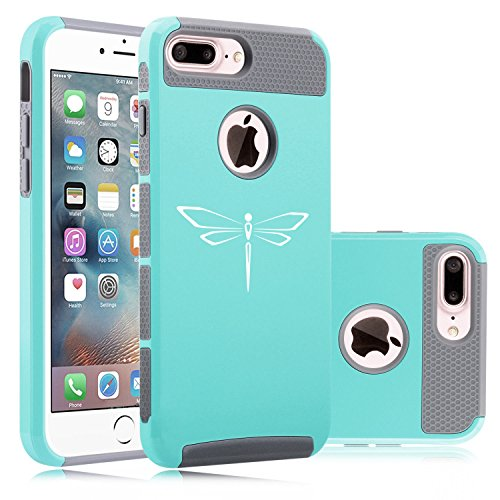 Teal Dragonfly Cover - For Apple (iPhone 8 Plus) Shockproof Impact Hard Soft Case Cover Dragonfly (Teal)