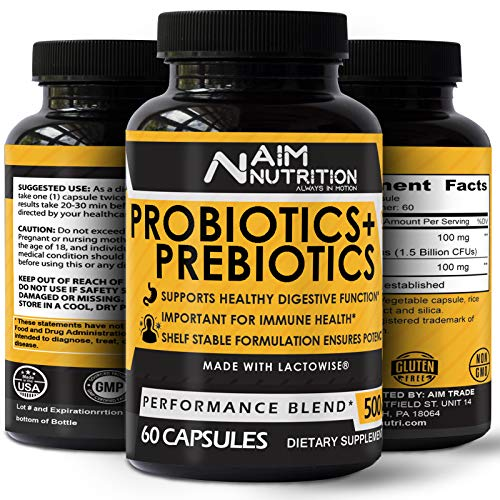 Daily Probiotics & Prebiotics Capsules - 1.5 Billion CFUs - Ultimate Supplement for Gut Restoration & Healthy Digestion Function - 60 Day Supply