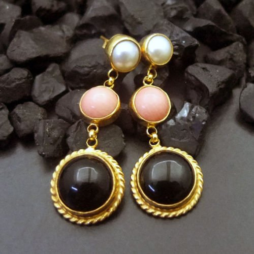Ancient Design Jewelry Onyx Coral & Pear Earring 22K Gold over 925K Sterling Silver ()