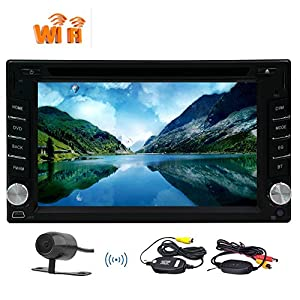 Wireless backup camera+6.2 Inch Android 6.0 Marshmallow Head unit In dash Car Stereo Double 2 Din In Dash GPS Navigation HD Touch Screen DVD Player with Bluetooth WiFi Steering Wheel Control
