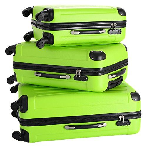Goplus 3 Pcs Luggage Set Hardside Travel Rolling Suitcase ABS Globalway (Green) by Goplus (Image #1)