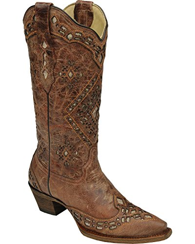 Corral Dames Glitter Inlay Cowgirl Laars Knip Toe Teen - A2963 Cognac
