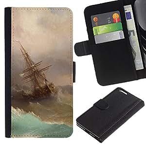 For Apple (5.5 inches!!!) iPhone 6+ Plus / 6S+ Plus Case , Storm Painting Sailing Art Waves - la tarjeta de Crédito Slots PU Funda de cuero Monedero caso cubierta de piel