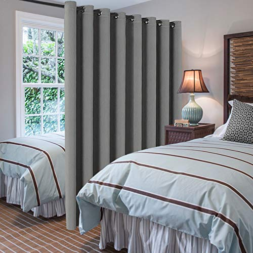 """H.VERSAILTEX Blackout Patio Grey Curtains, Extra Long and Wider (100"""" W by 108"""" L) Thermal Insulated Panel Premium Room Divider, No One Can See Through (9' Tall by 8.5' Wide) - Dove Grey"""