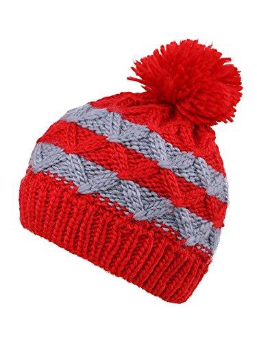KEA KEA Children/Kids Chunky Pompom Striped Knit Beanie Boys/Girls Winter Hat Ski Cap – DiZiSports Store