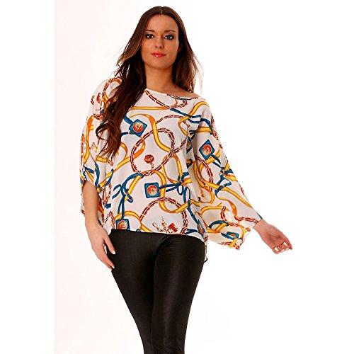 Miss Wear Line-Shirt, blau und gelb-chauvesouris mit Motiv fashion