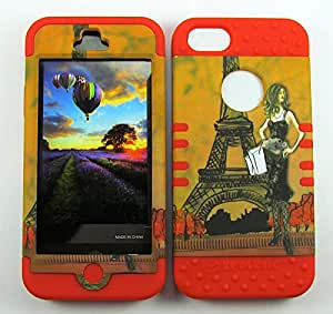IPHONE 5 CASE (GIRL AND EIFFEL TOWER SNAP + Red SKIN), HARD & SOFT RUBBER HYBRID FOR IPHONE 5 5S, HIGH IMPACT DUAL LAYER PROTECTIVE SHOCKPROOF BUMPER COVER - RD-TE563 CELLPHONE [ACCESSORIES N MORE]