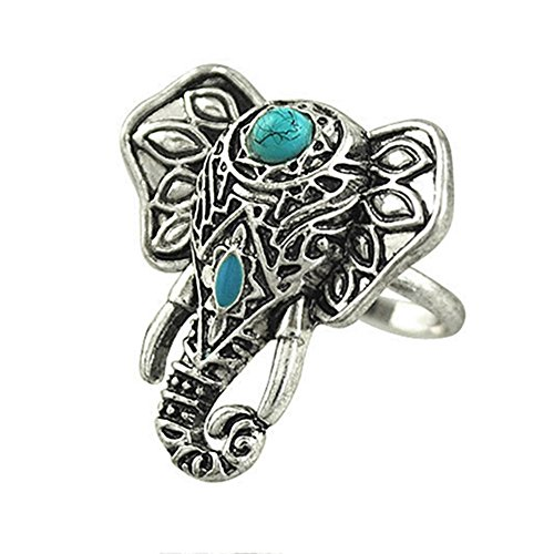 Sanwood Vintage Bohemia Elephant Above Knuckle Ring Mid Finger Tip Jewelry (Elephant)