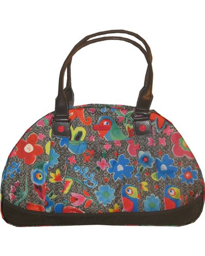 Oilily Funky Flowers - Bolso tipo bowling, color gris