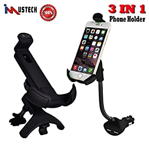 iMustech 3 IN 1 Air Vent Phone Holder + Cigarette Lighter Car Mount + Car USB Charger, Dual USB Car Chargers Holders Clip Mount, 360° Degree Rotating Holder for iPhone X, 8 and Other Smartphones