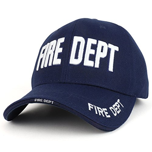 Trendy Apparel Shop Fire FD 3D Embroidered Structured Adjustable Baseball Cap - Navy White (Fire Embroidery Dept)