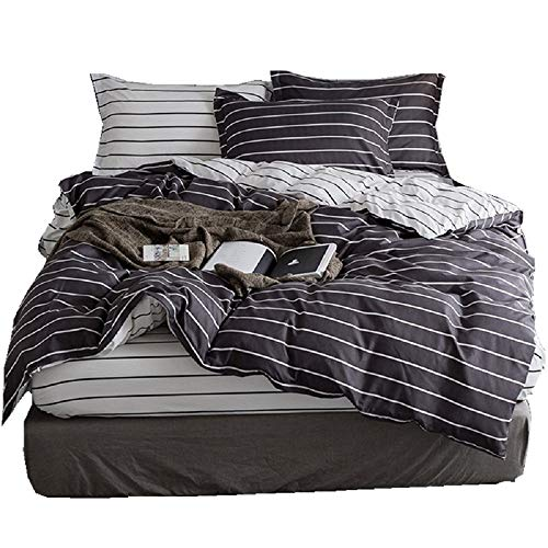 (KEY WARM Gray Duvet Cover Set Striped Twin Duvet Cover Microfiber Luxury Bedding Set Boys Soft and Extremely Durable Bedding Cover Set for Kids Adults with Zipper Closure and Corner Ties(3 Piece Twin))