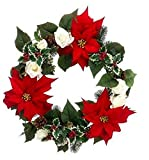 22'' Red Poinsettia and White Rose Artificial Christmas Wreath - Unlit