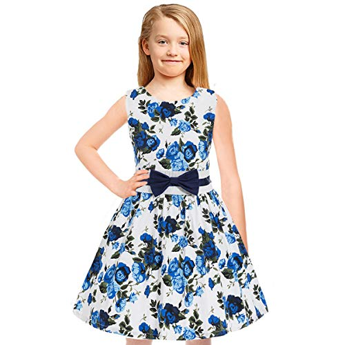 - Tkiames Girls Easter Dress Vintage Spring Summer Sleeveless Casual Swing Party Dress with Belt (6T(6-7 Years), Blue 4)